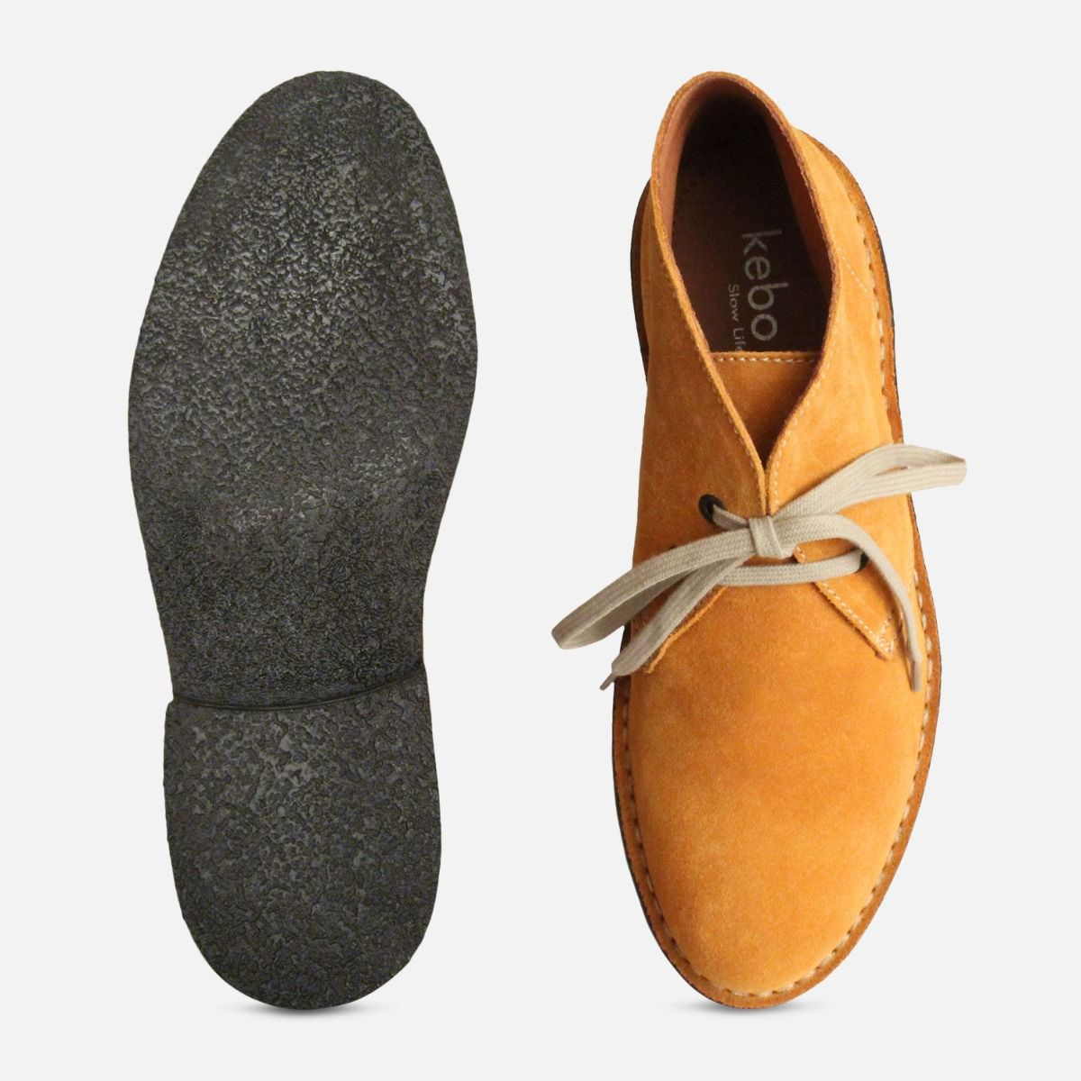 Wheat Yellow Suede Mens Italian Desert Boots