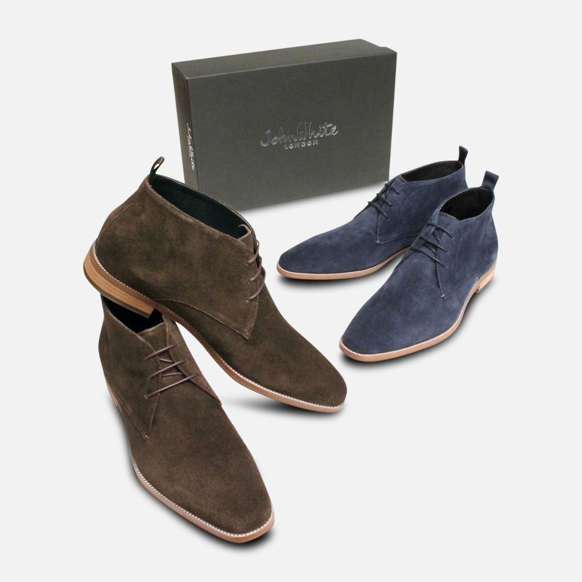 Navy Blue Suede John White Chisel Toe Lace Boot