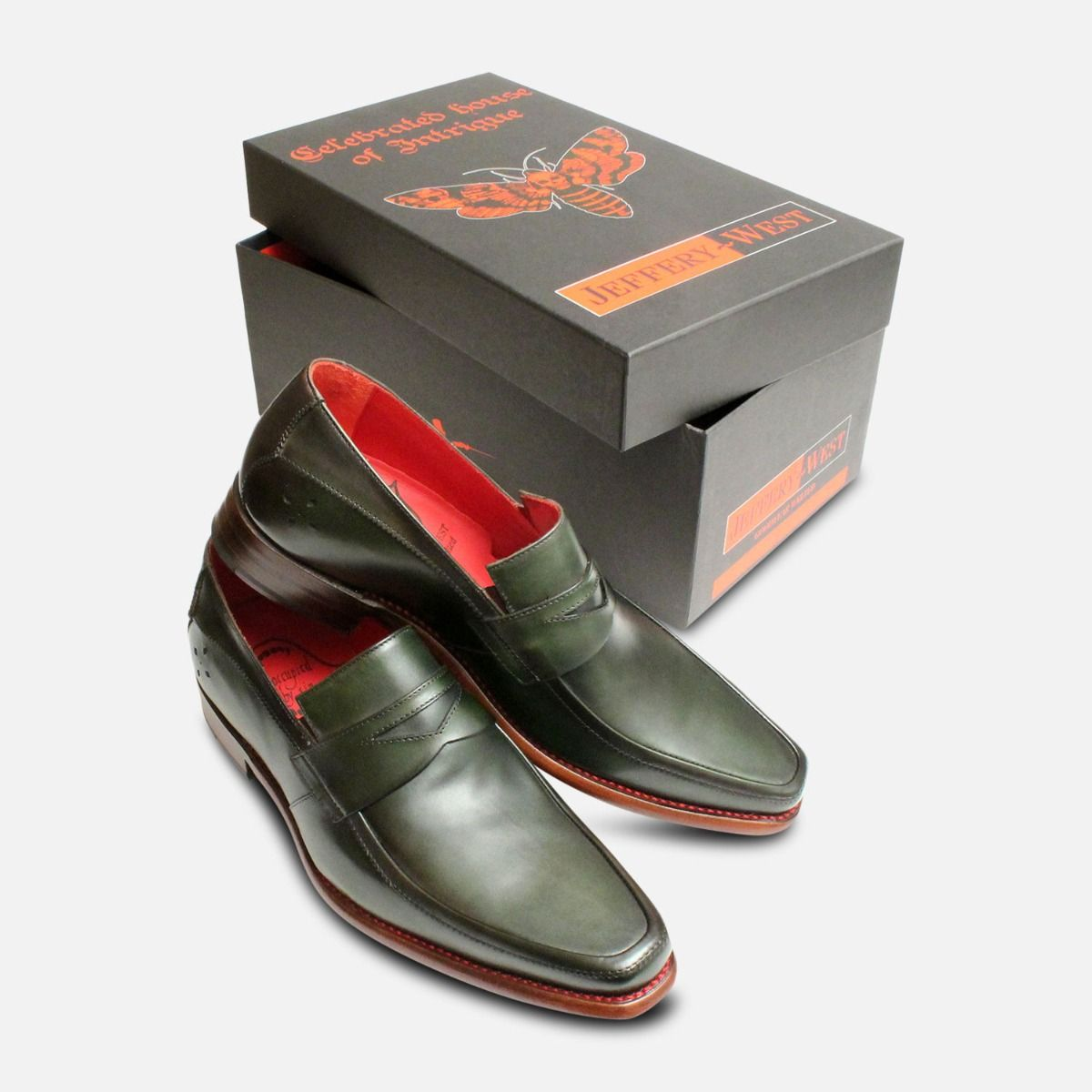 Dark Green Jeffery West Mens Goodyear Welted Loafer Shoes