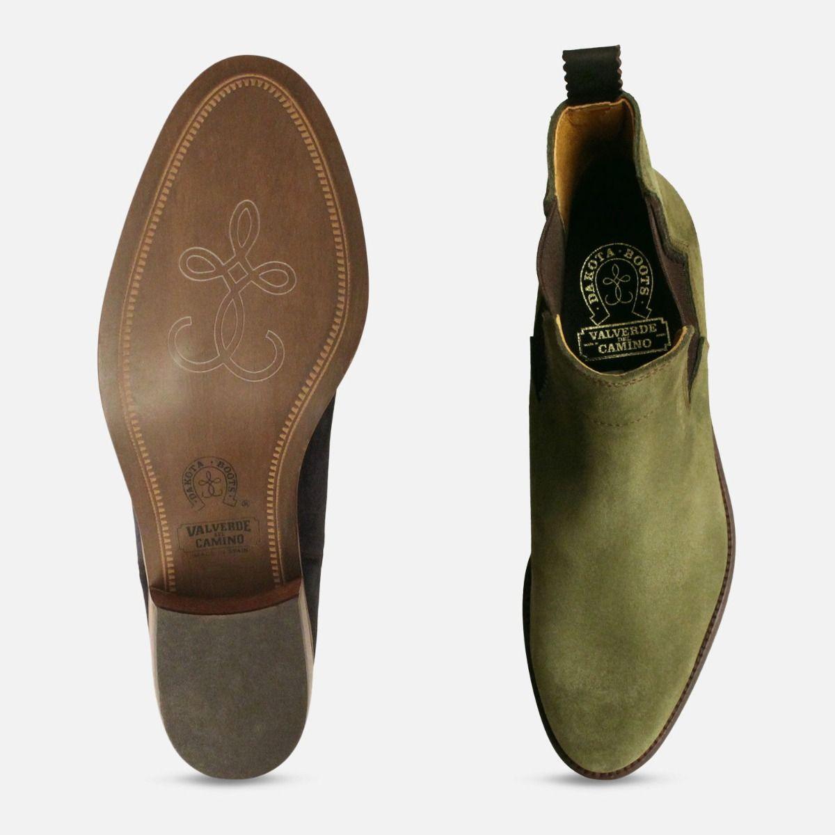 Cuban Heel Chelsea Boots in Moss Green Suede 650792dda3ba