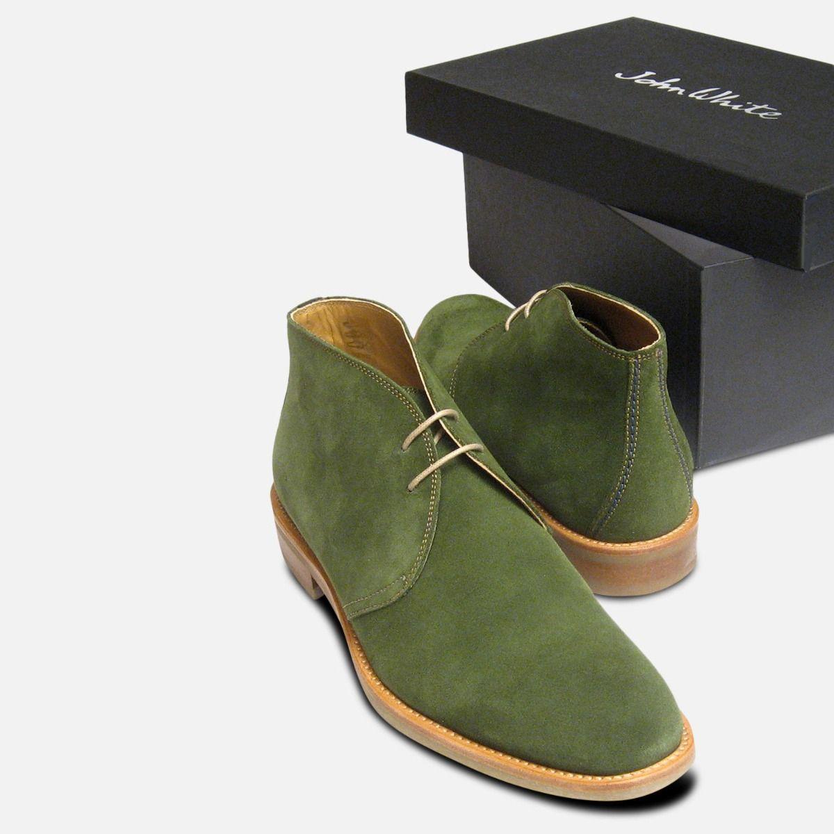 John White Westbury 4 Mens Green Suede Chukka Boots