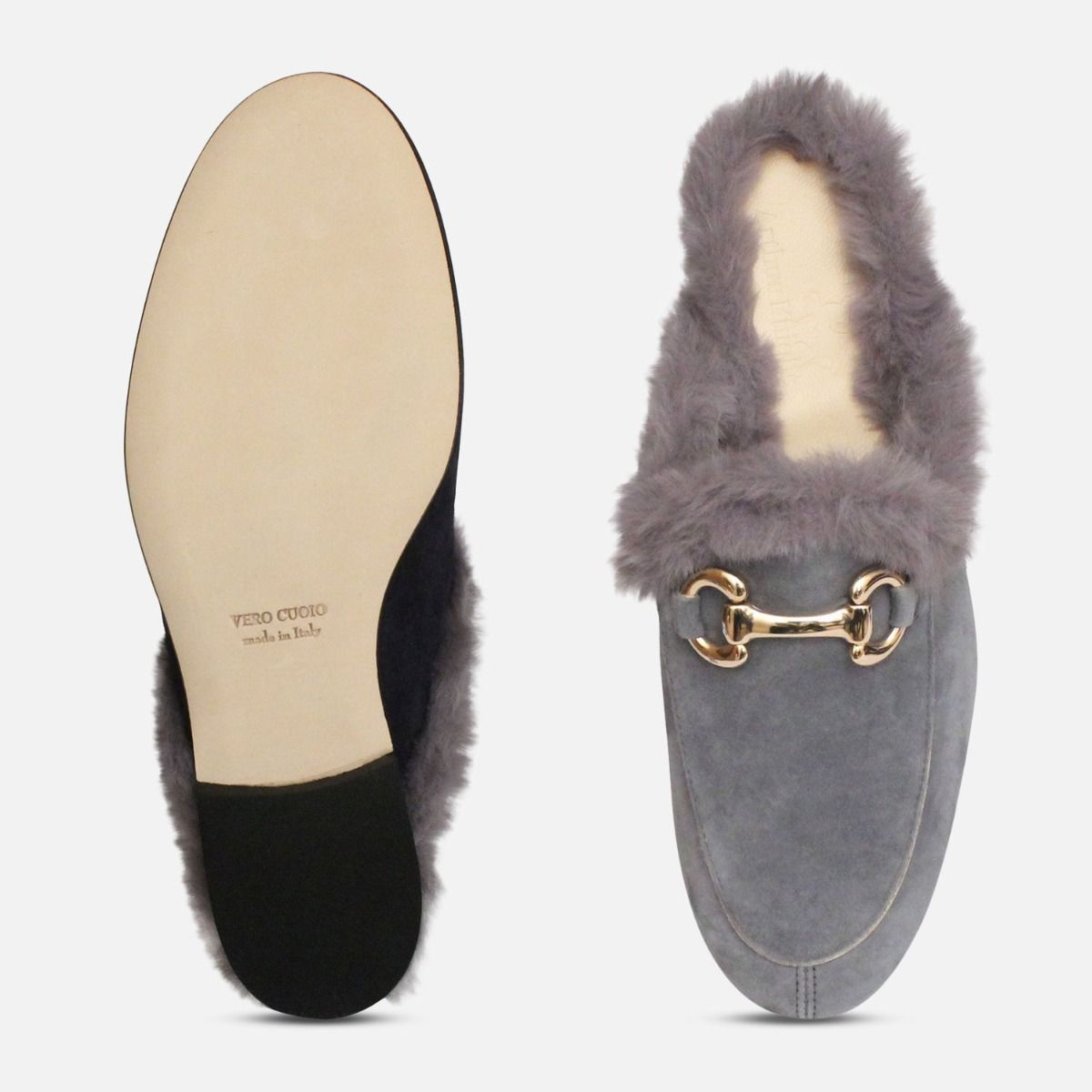Grey Velvety Fur Slides by Arthur Knight Shoes