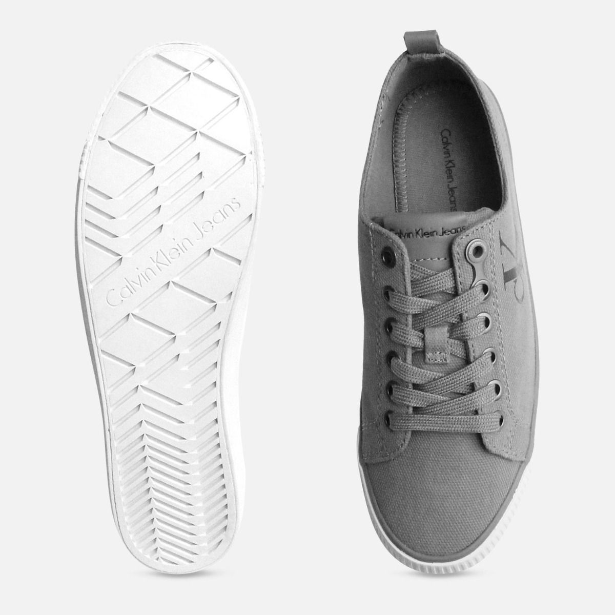Grey Canvas Dora Sneakers by Calvin Klein Jeans