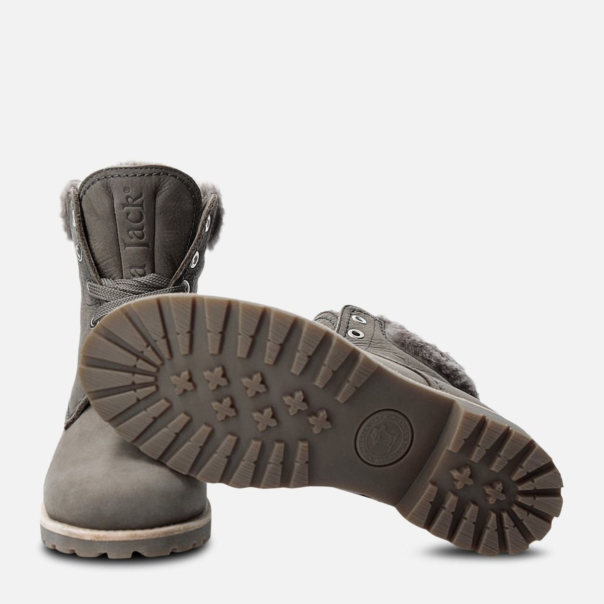 Panama Jack 03 Grey Igloo Fur Lined Lace Up Boot