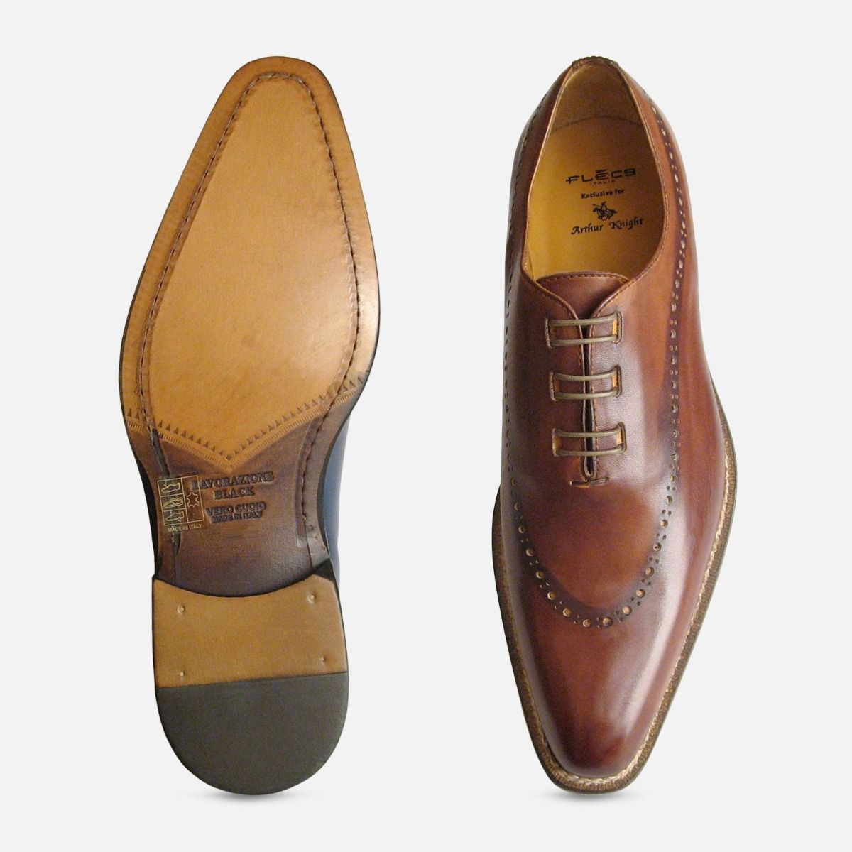 Hand Made Whole Cut Designer Brown Mens Shoes by Arthur Knight