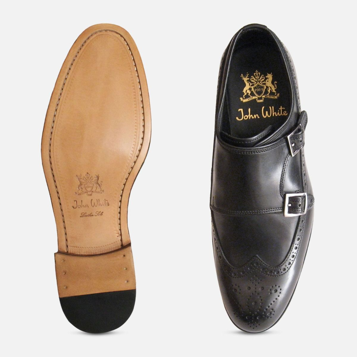 Black Calf Double Buckle Shoes Designer John White Brogues