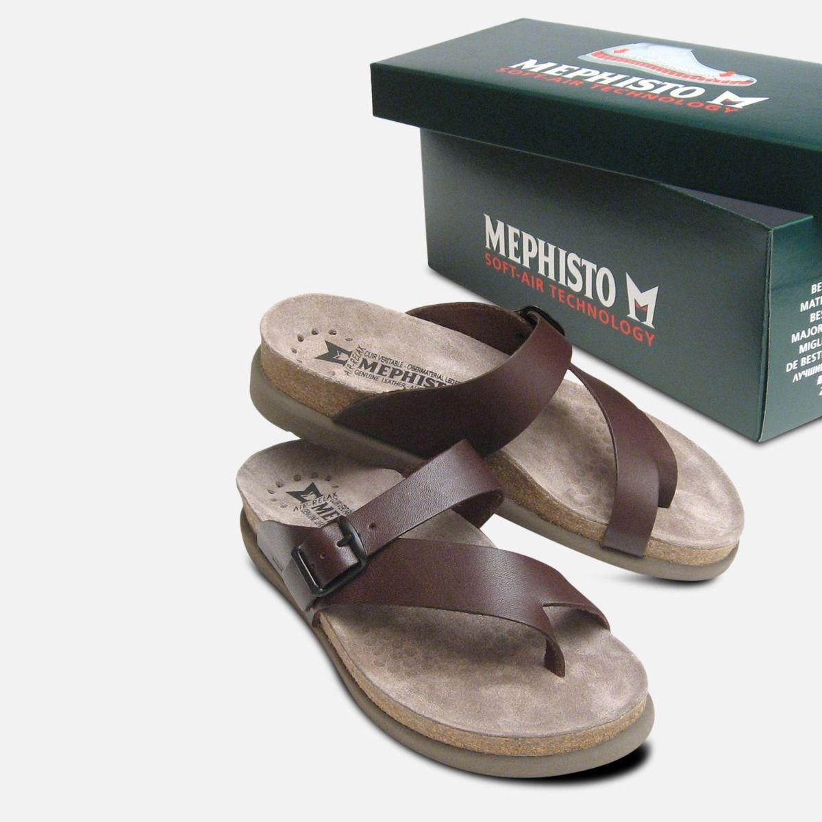 Chestnut Helen Shoes Leather Sandals Calf Brown Mephisto dCrxoeBW