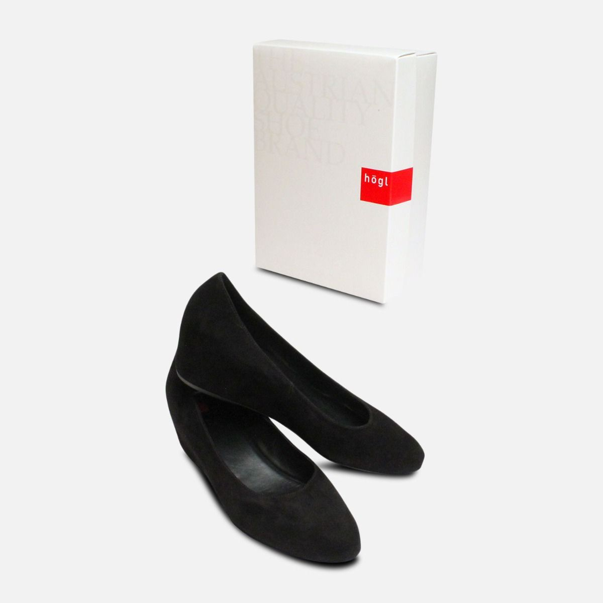 82cfa12f6c516 Hogl Black Suede Covered Wedge Ladies Shoes