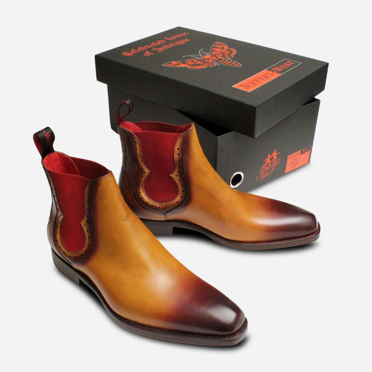Jeffery West Light Brown Red Elastic Chelsea Boots