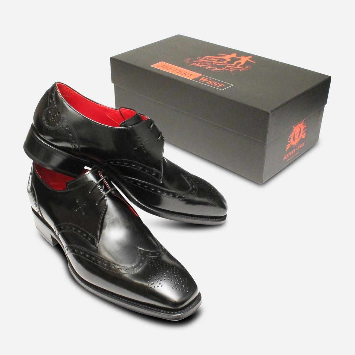 Formal Jeffery West Italian Brogue Shoes in Black