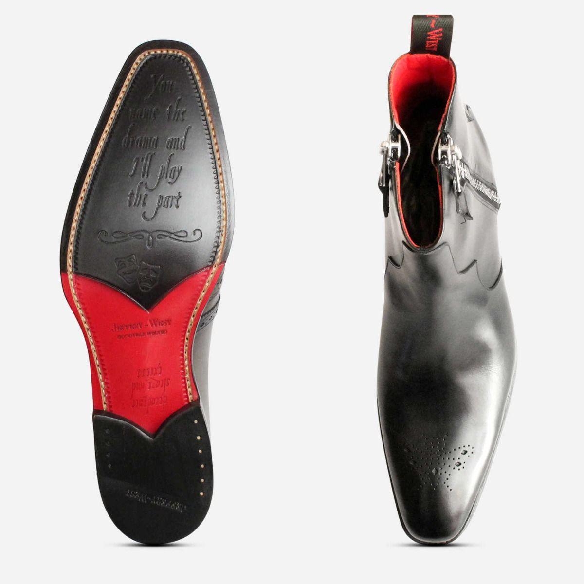 Jeffery West Twin Side Zipper Boots in Black Leather