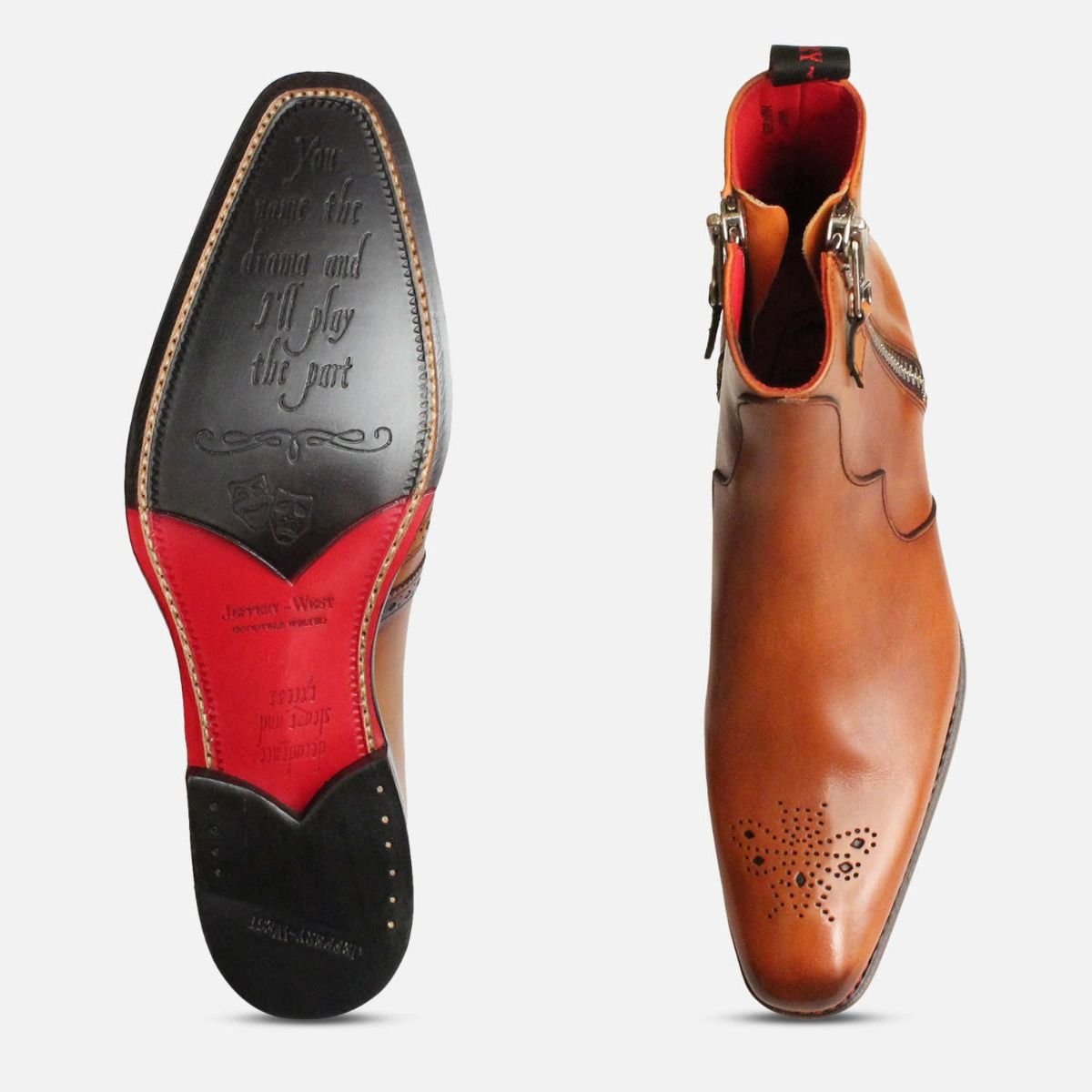 Twin Zip Jeffery West Brogue Boots in Mahogany