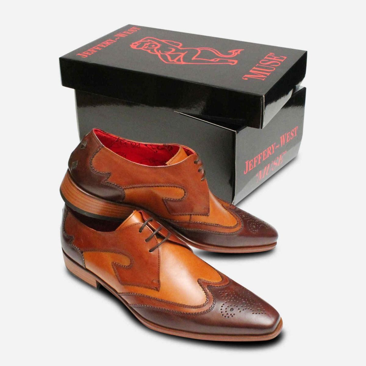 Two Tone Wingtip Brogues in Brown by Jeffery West