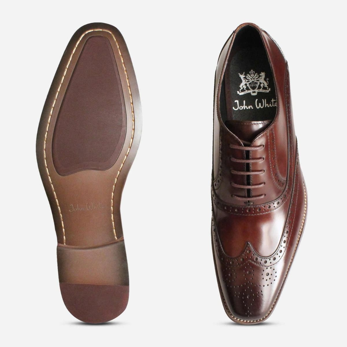 Premium Oxford Brogues in Brown Polished by John White