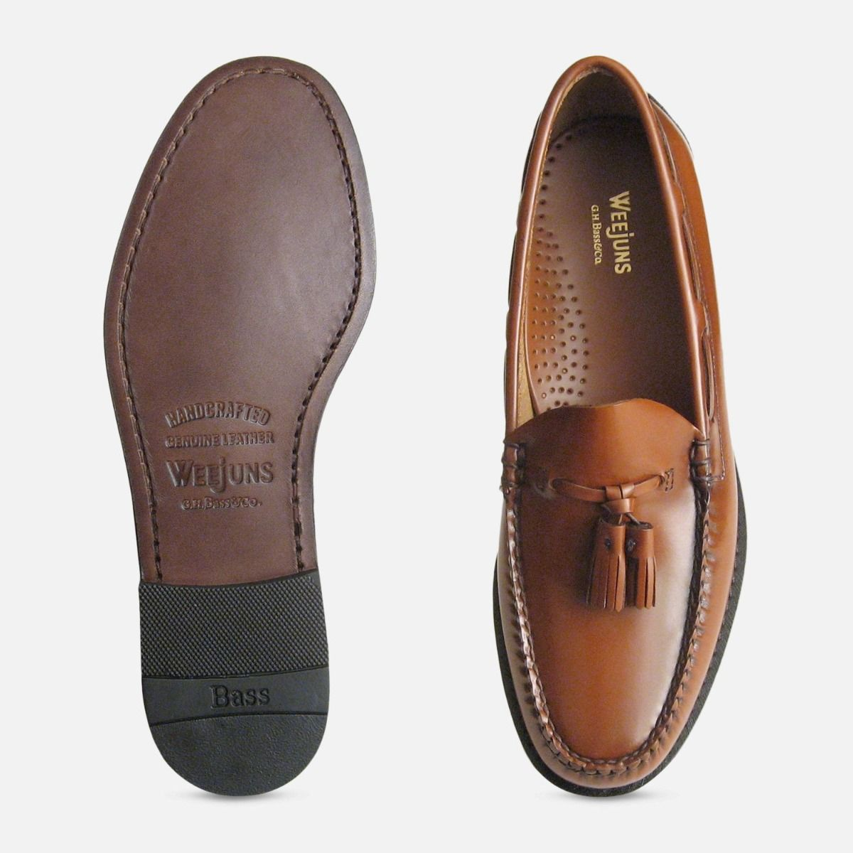 Honey Brown Polished Leather Formal Ivy League Tassel Loafers by Bass Weejuns