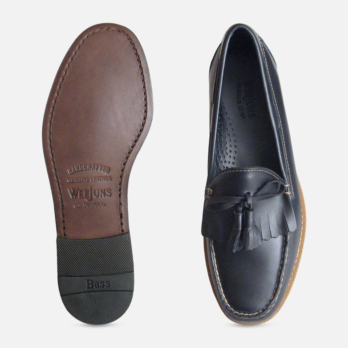 Navy Blue Waxy Mens Bass Tassel Loafers