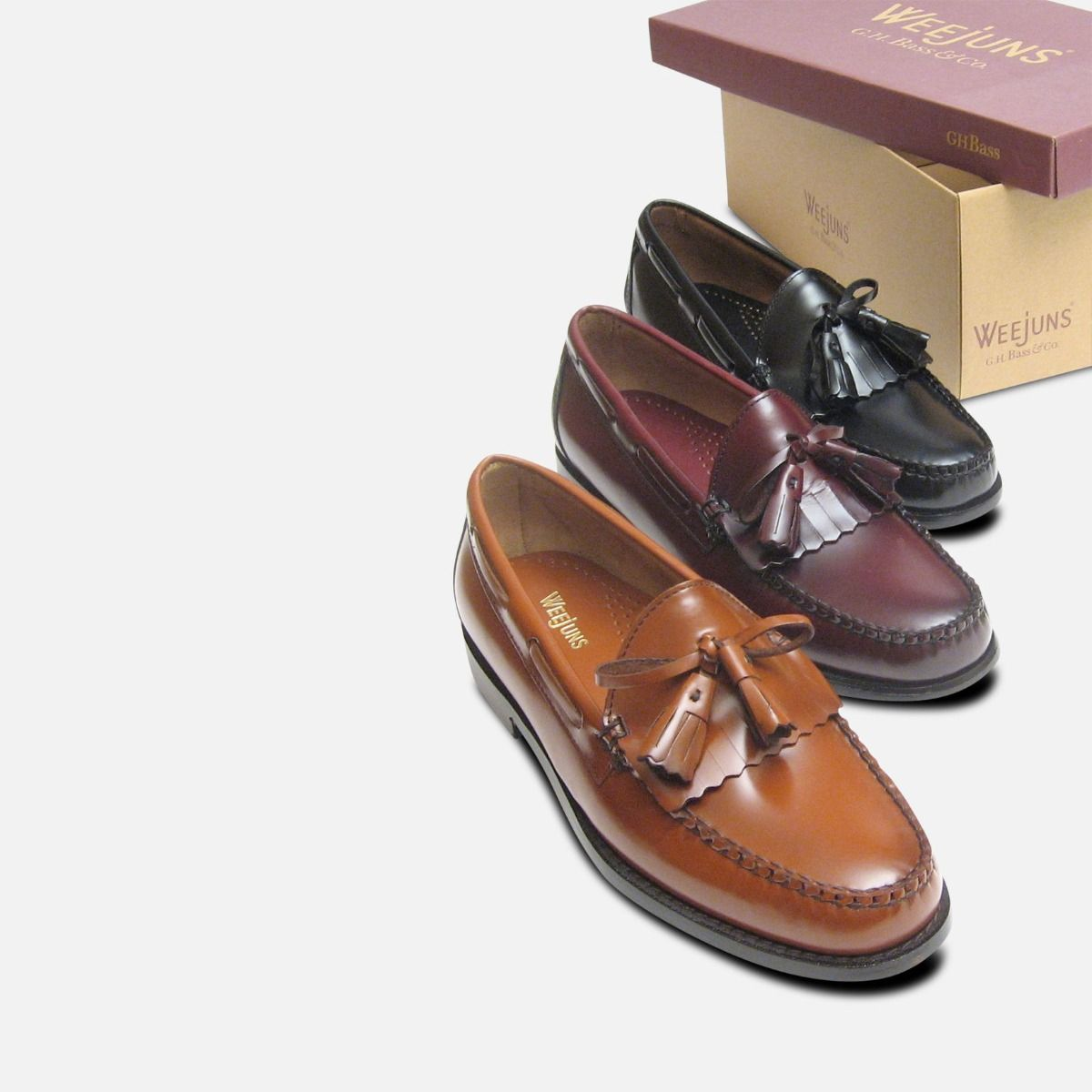 Burgundy Wine Polished Leather Formal Ivy League Tassel Loafers by Bass Weejuns
