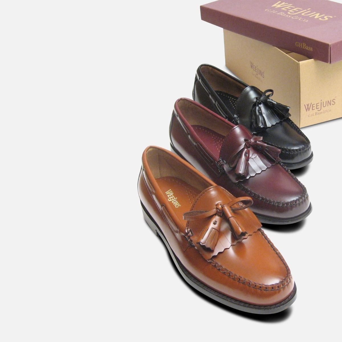 Honey Brown Polished Formal Fringe & Tassel Loafers by Bass Weejuns