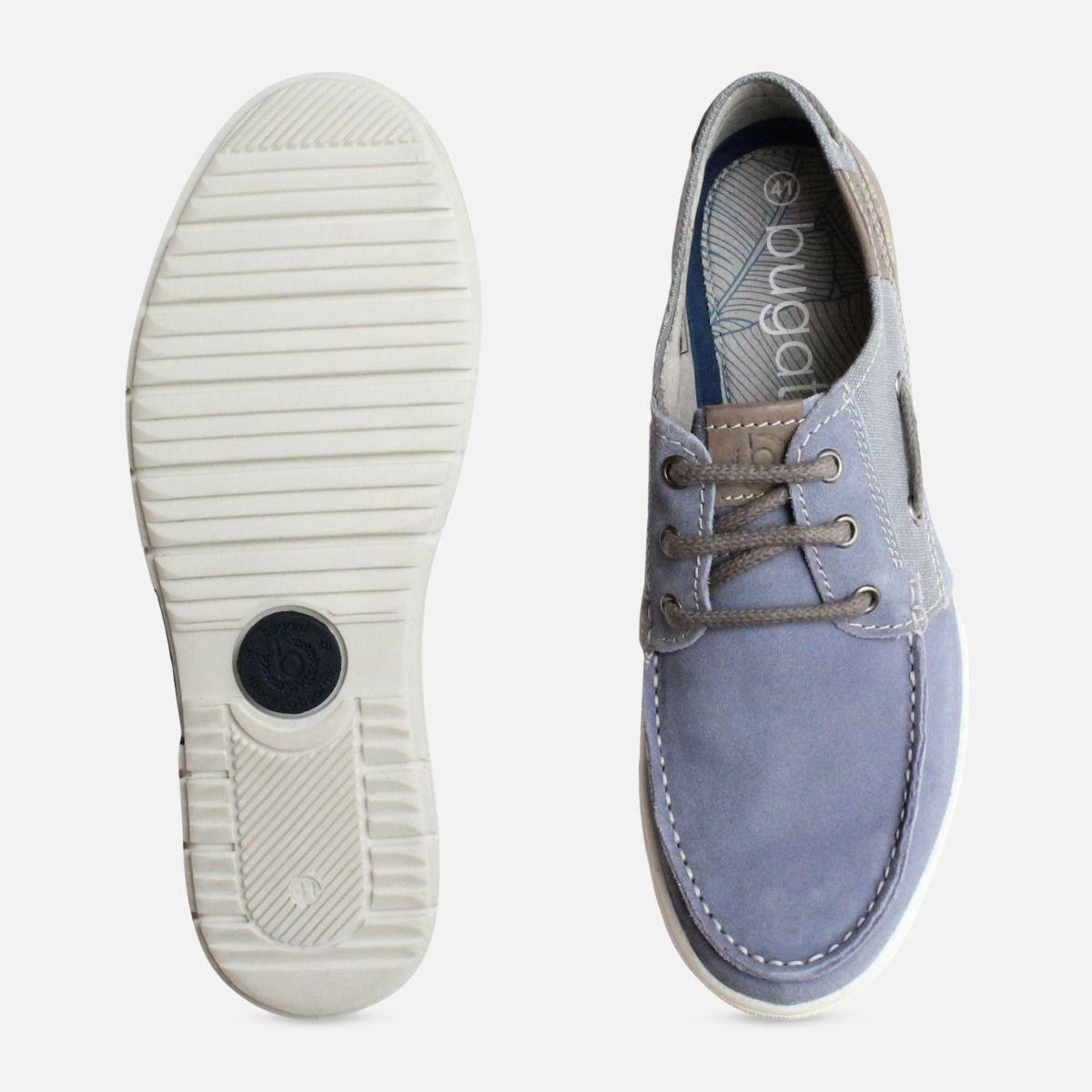 Denim Blue Suede Boat Shoe by Bugatti