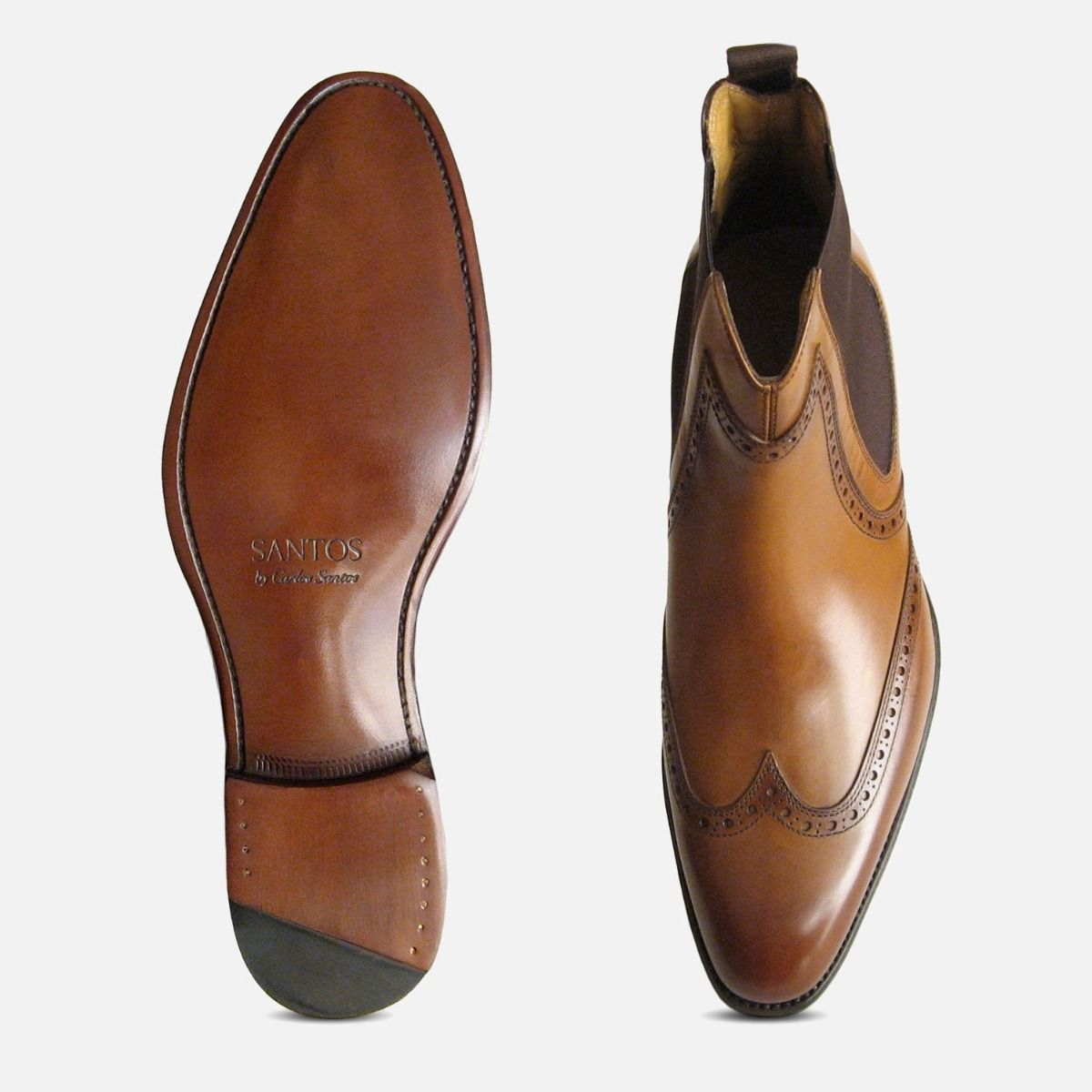 Carlos Santos Burnished Tan Chelsea Boots