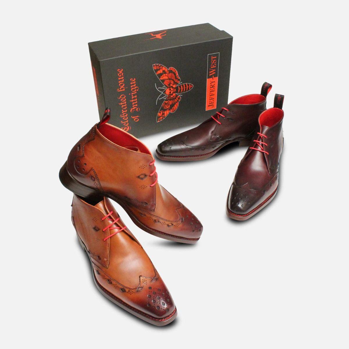 Premium Jeffery West Mahogany Diamond Chukka Boot