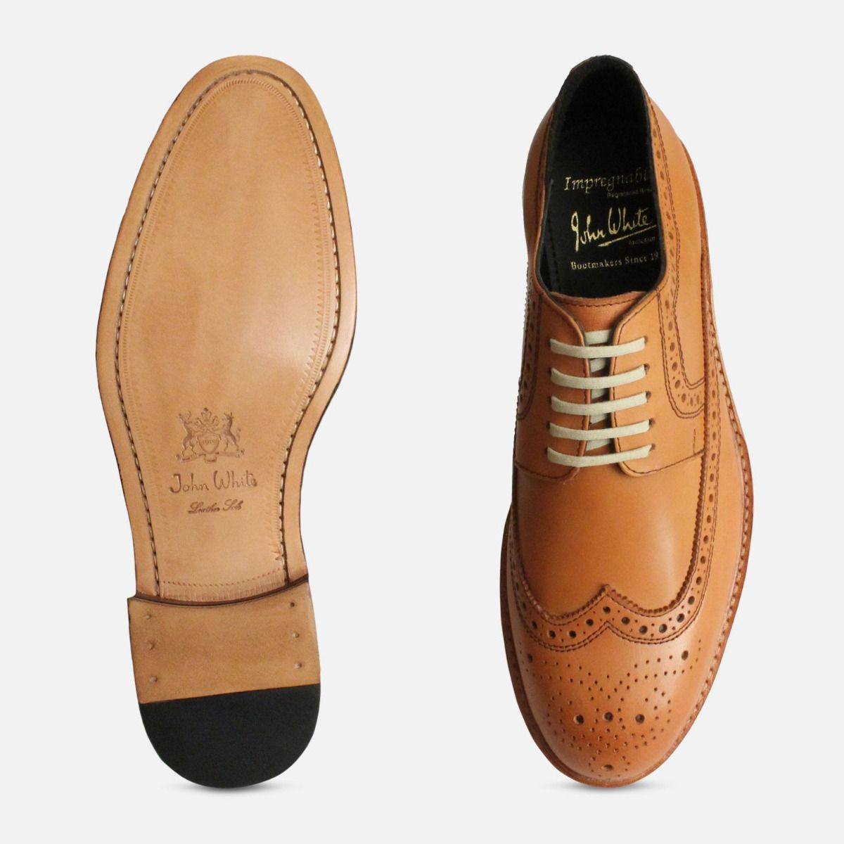 John White Goodyear Welted Wingtip Brogues in Tan
