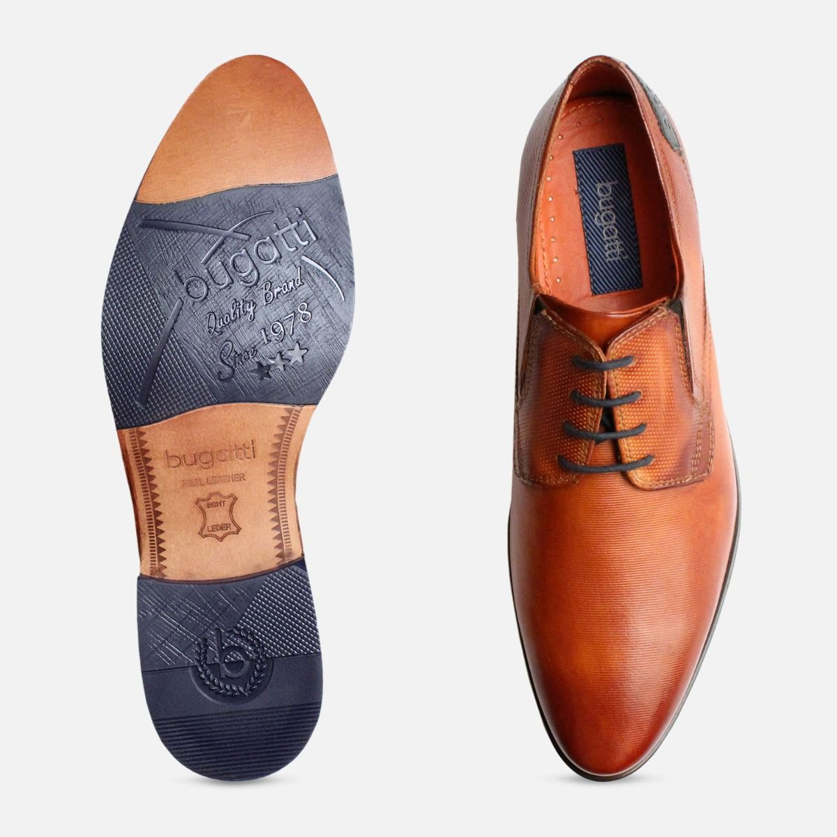 Mens Formal Pointed Bugatti Tan Shoes