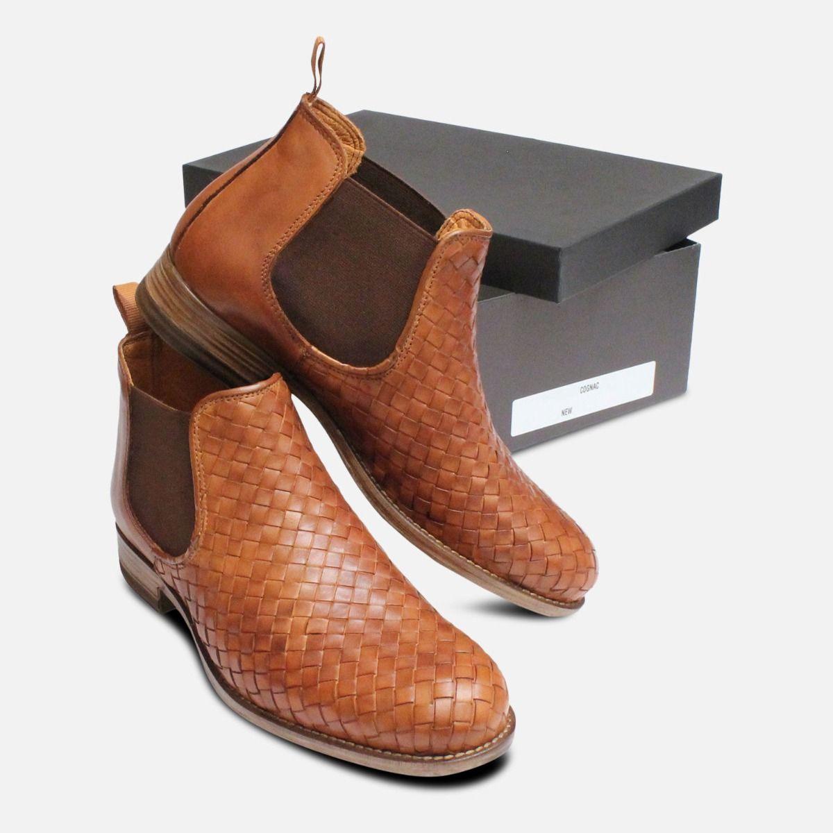 Brown Weave Ladies Demi Chelsea Boots