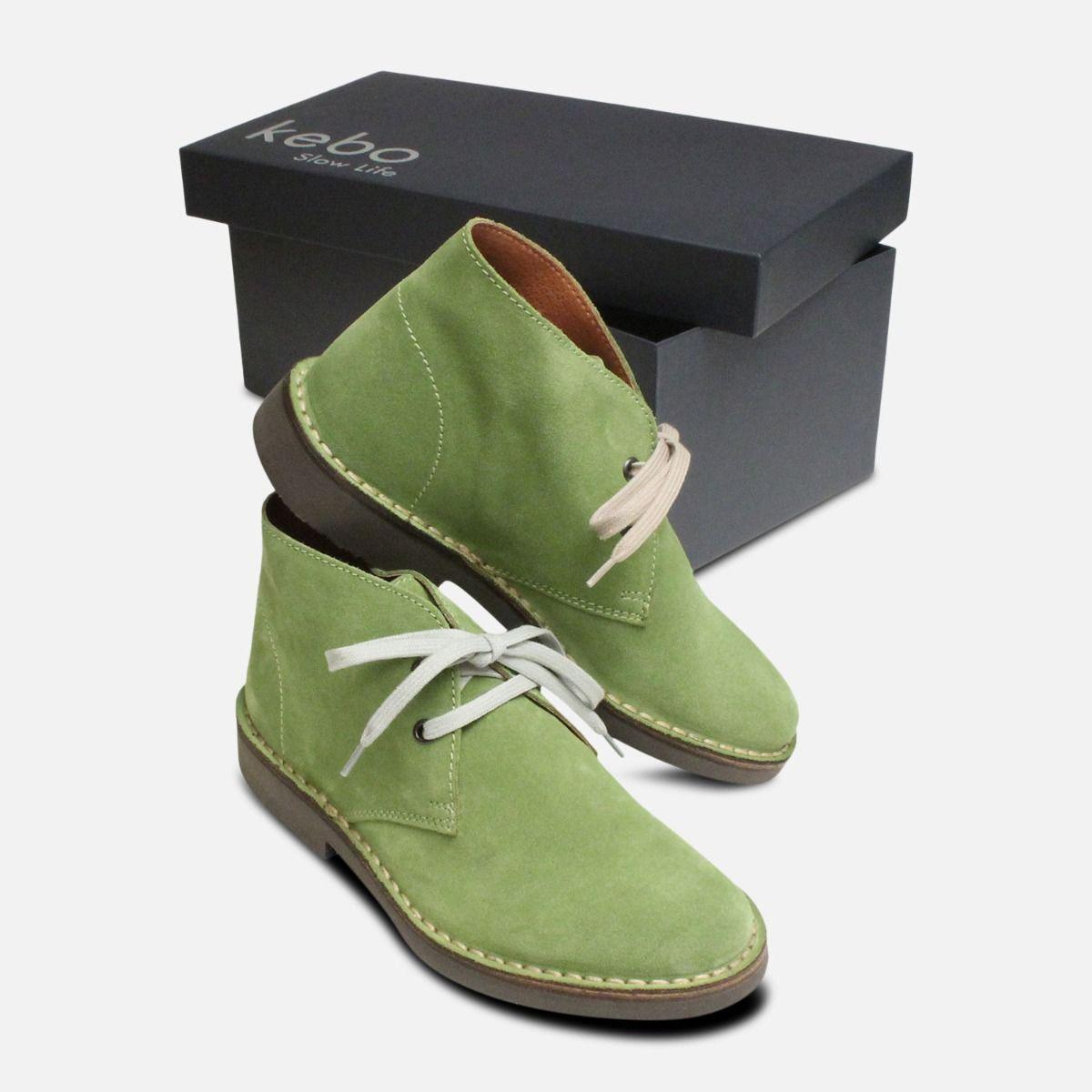 Aloe Green Suede Ladies Desert Boots