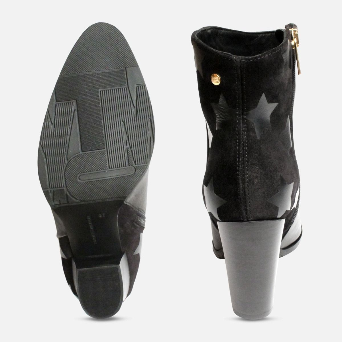 Black Tommy Hilfiger Lopez Stacked Heel Ankle Boots