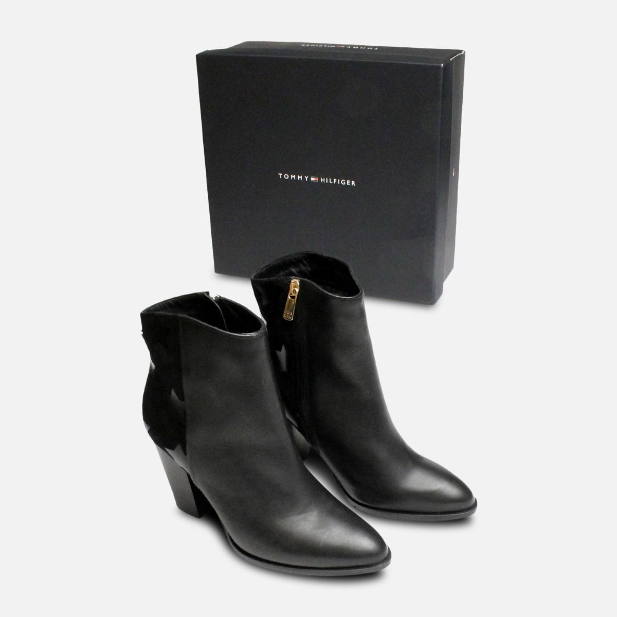 Black Tommy Hilfiger Lopez Stacked Heel Ankle Boots 2f41a09e746a8