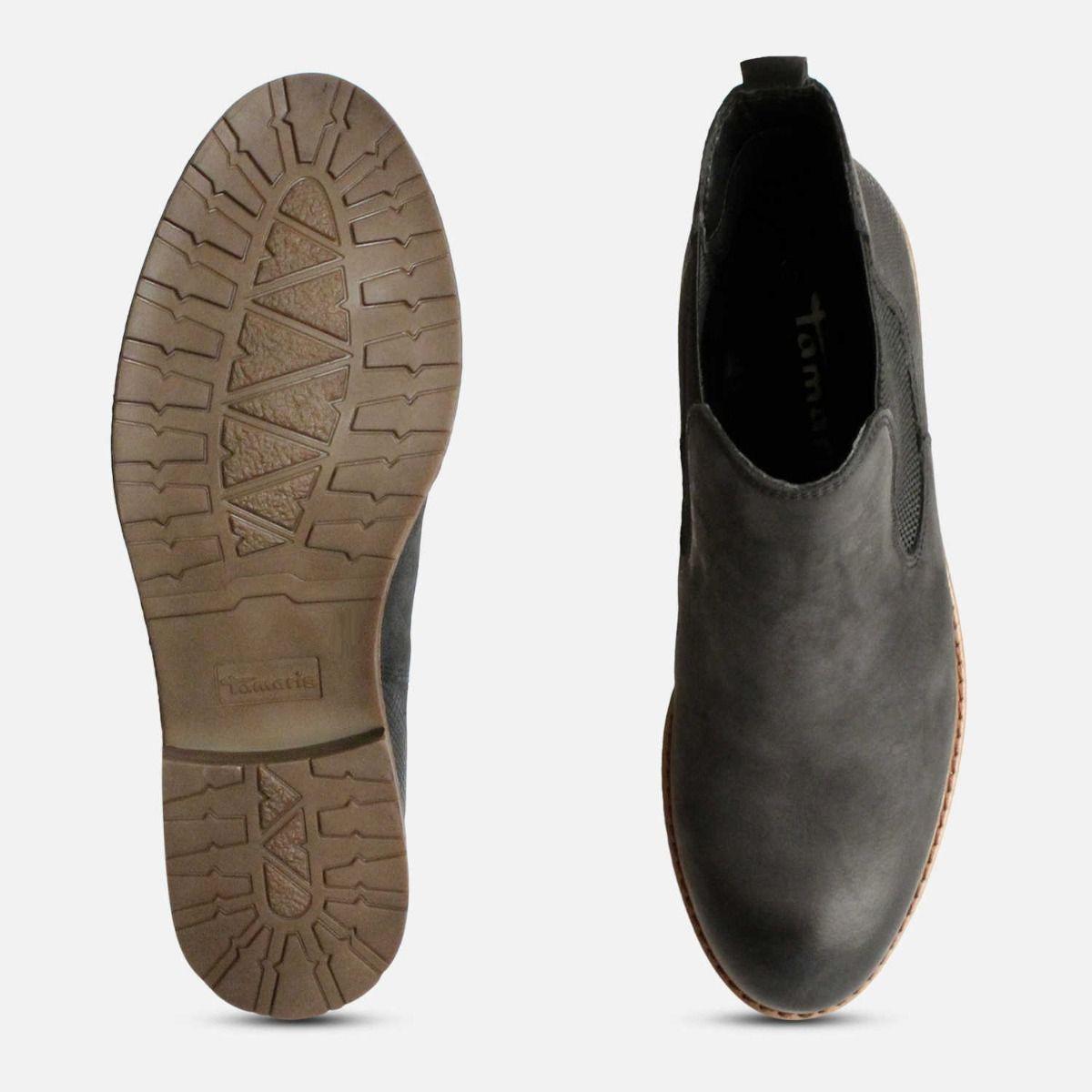 Matt Black Tamaris Ladies Slip On Ankle Boots