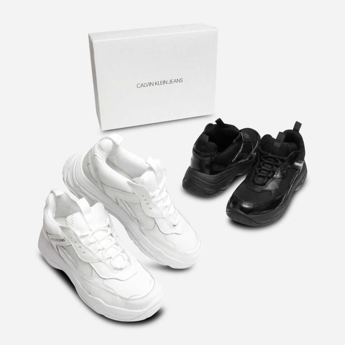 66f72a328 Maya Chunky Trainers in White Leather by Calvin Klein Jeans
