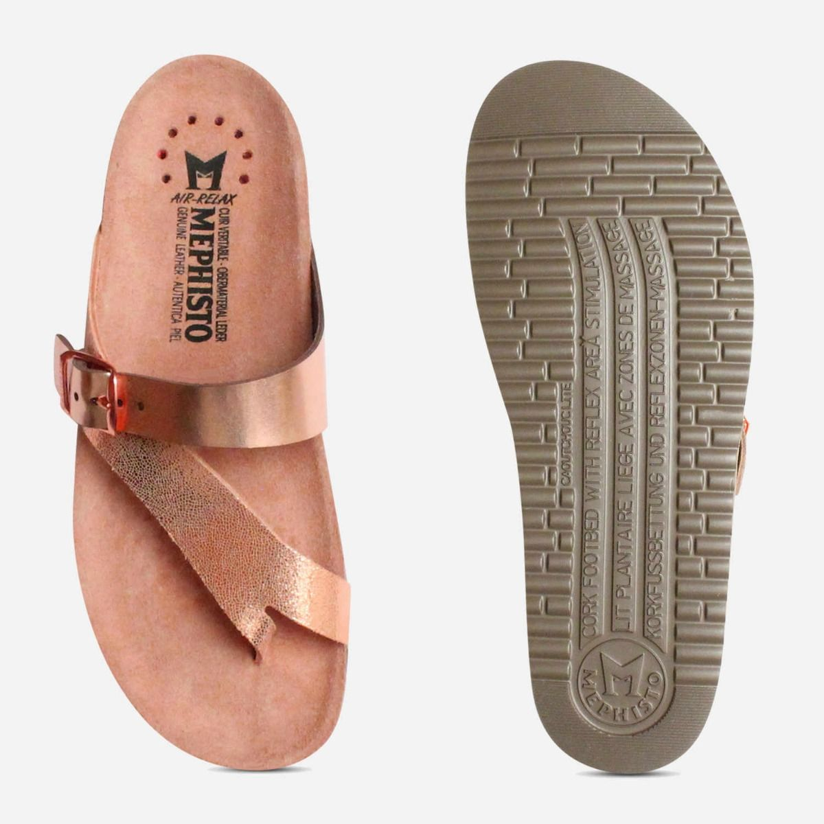Womens Pink Mephisto Sandals In Nude Helen Metallic wOiuTkXZlP