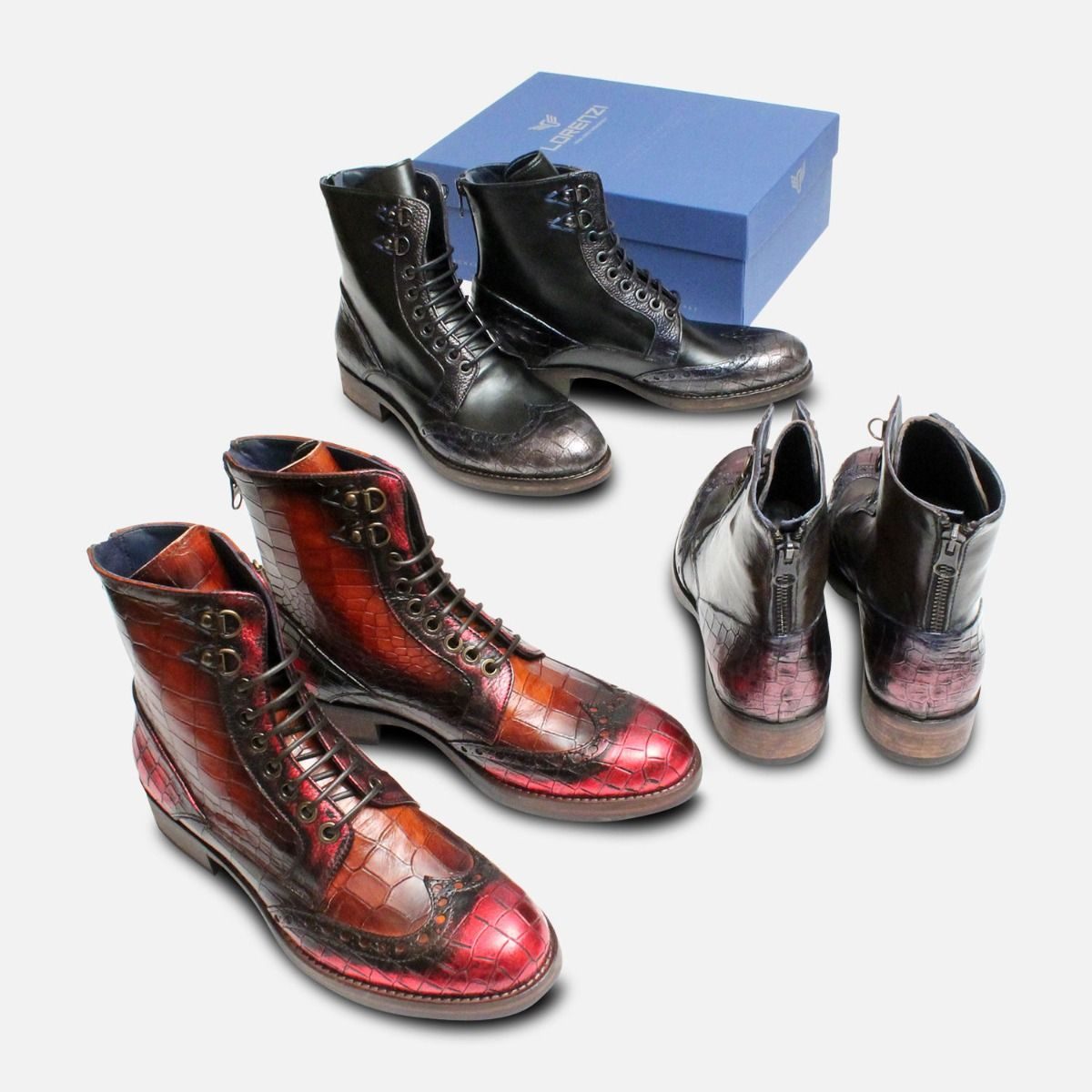 Dark Grey Metallic Ladies Italian Lace & Zip Boots