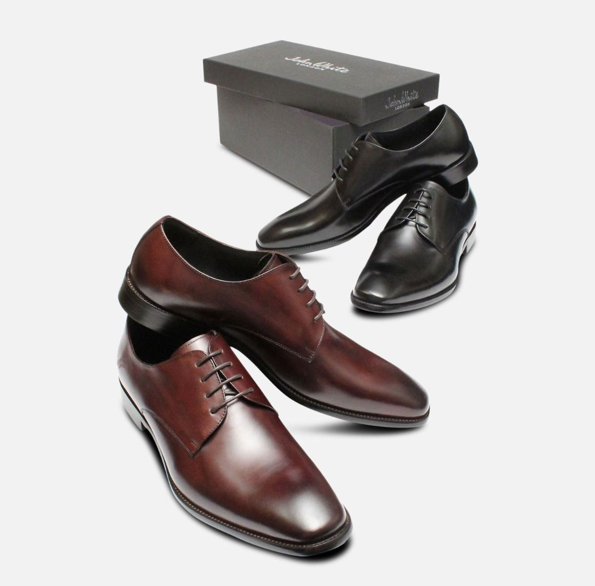 Formal Dark Brown Mens John White Shoes