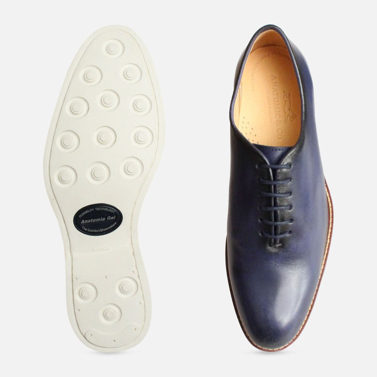 Navy Blue Wholecut Oxford Shoes by Anatomic & Co