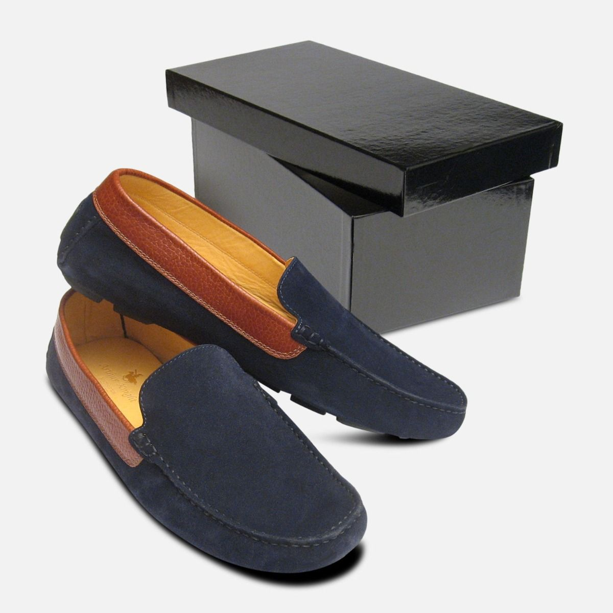 Navy Blue Mens Moccasins with Brown Collar