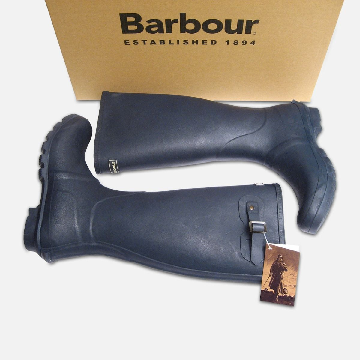 Barbour Mens Navy Blue Waterproof Rubber Wellington Boots