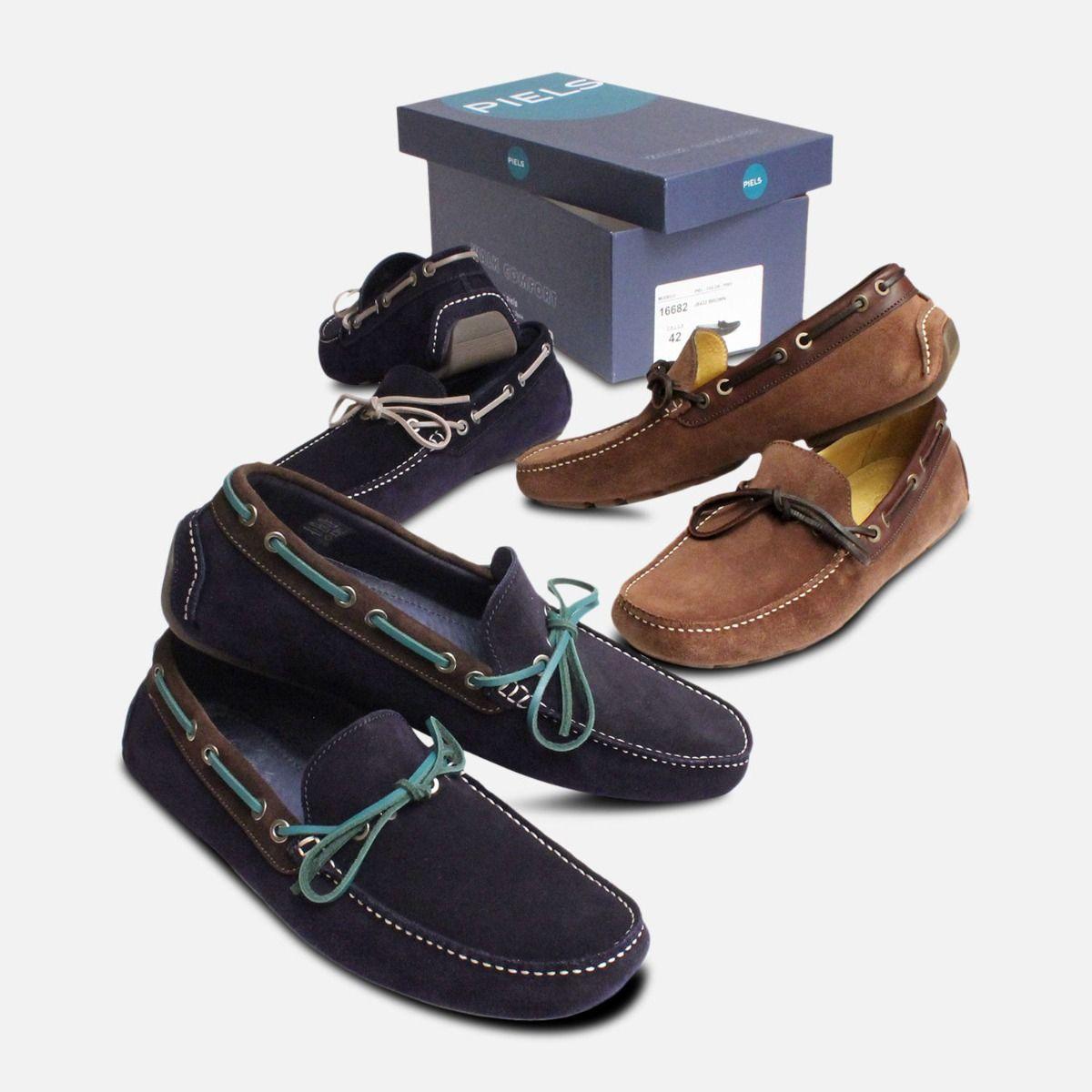 Navy Blue & Green Designer Driving Shoes