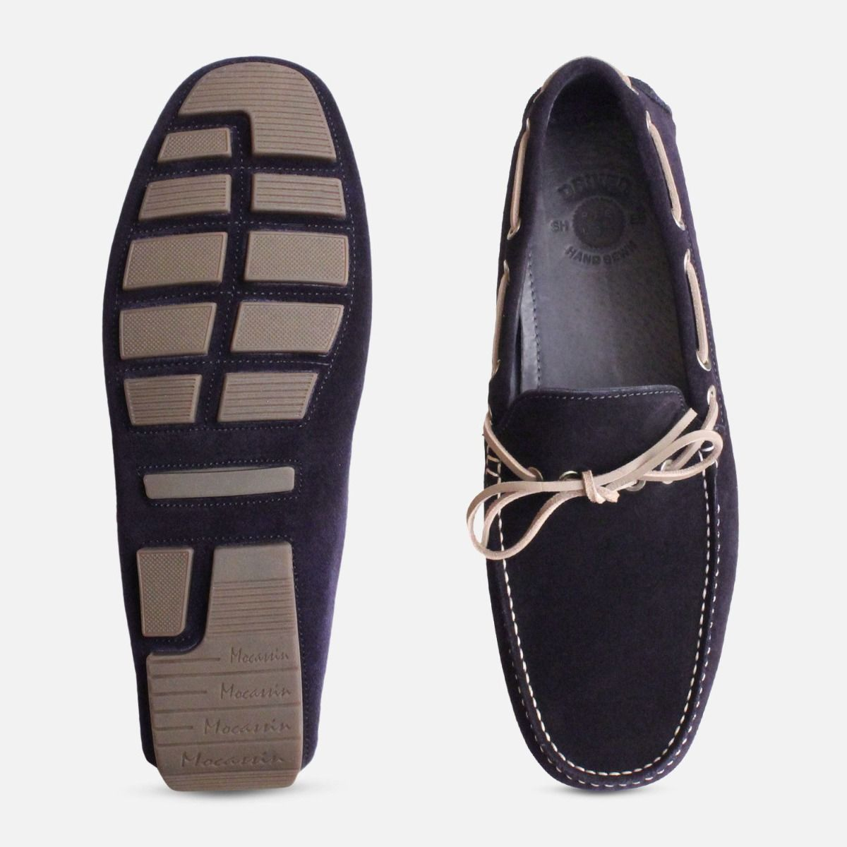 Navy Blue & Grey Designer Driving Shoes