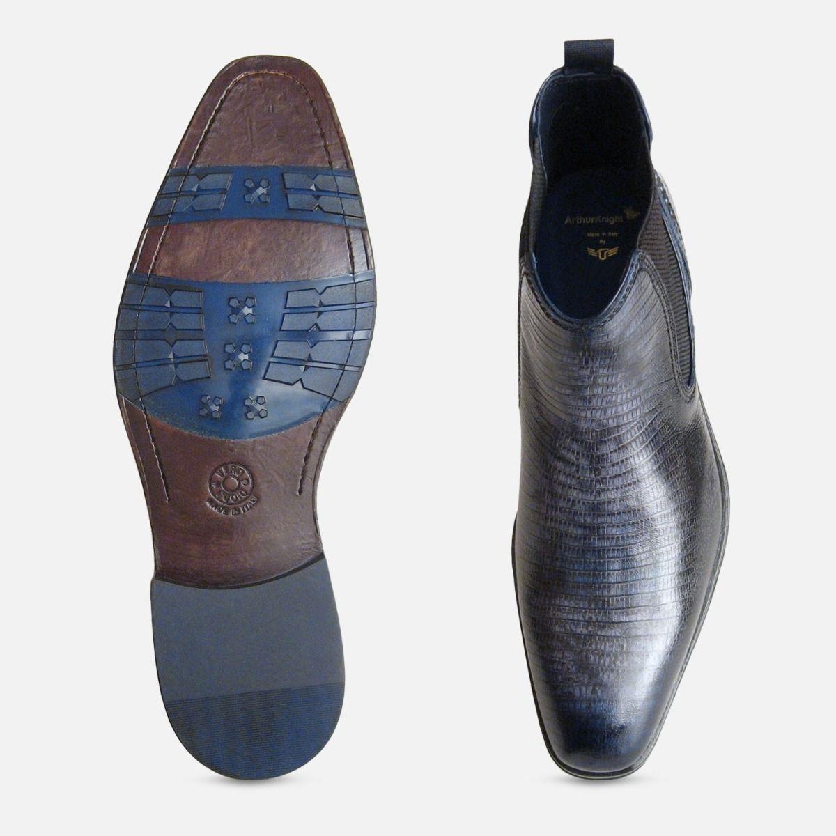 Navy Blue Iguana Lizard Chelsea Boot