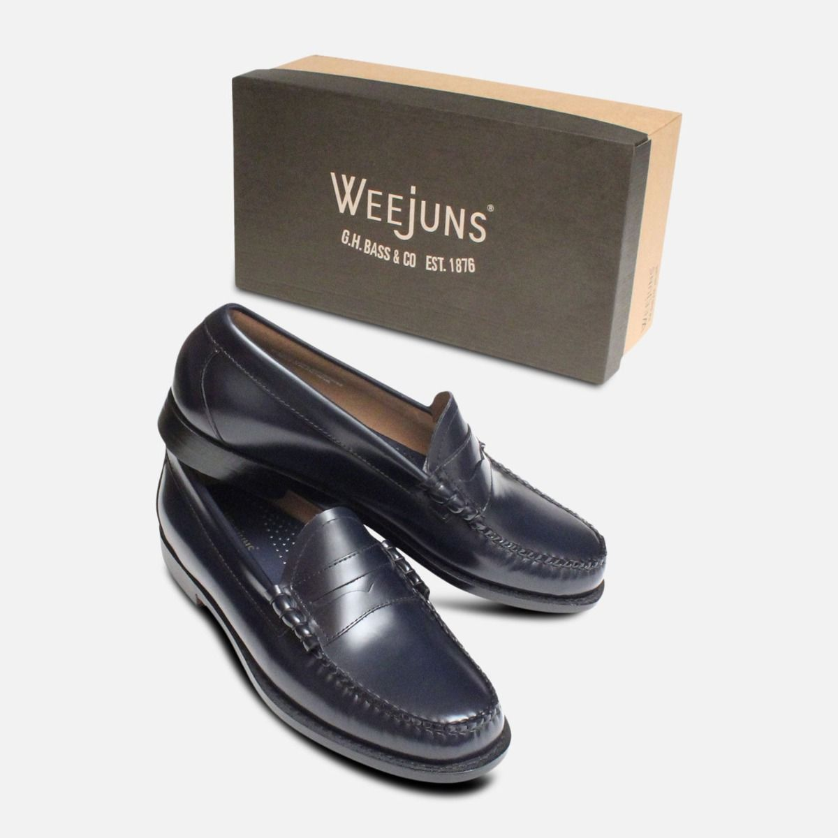 Larson Bass Penny Loafers in Navy Blue Leather