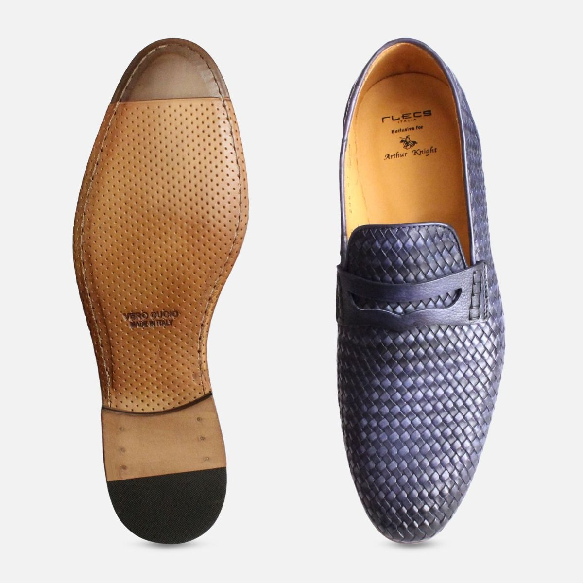 Weave Loafers in Navy Blue by Arthur Knight