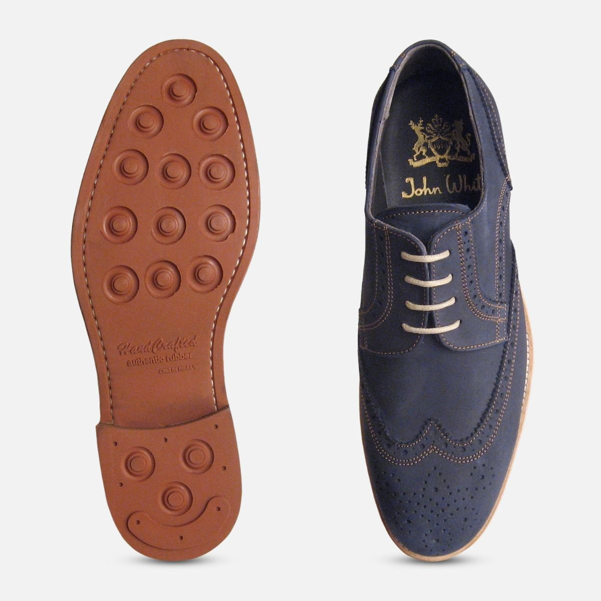 Navy Blue Nubuck Mens Lace Up Brogues by John White Shoes