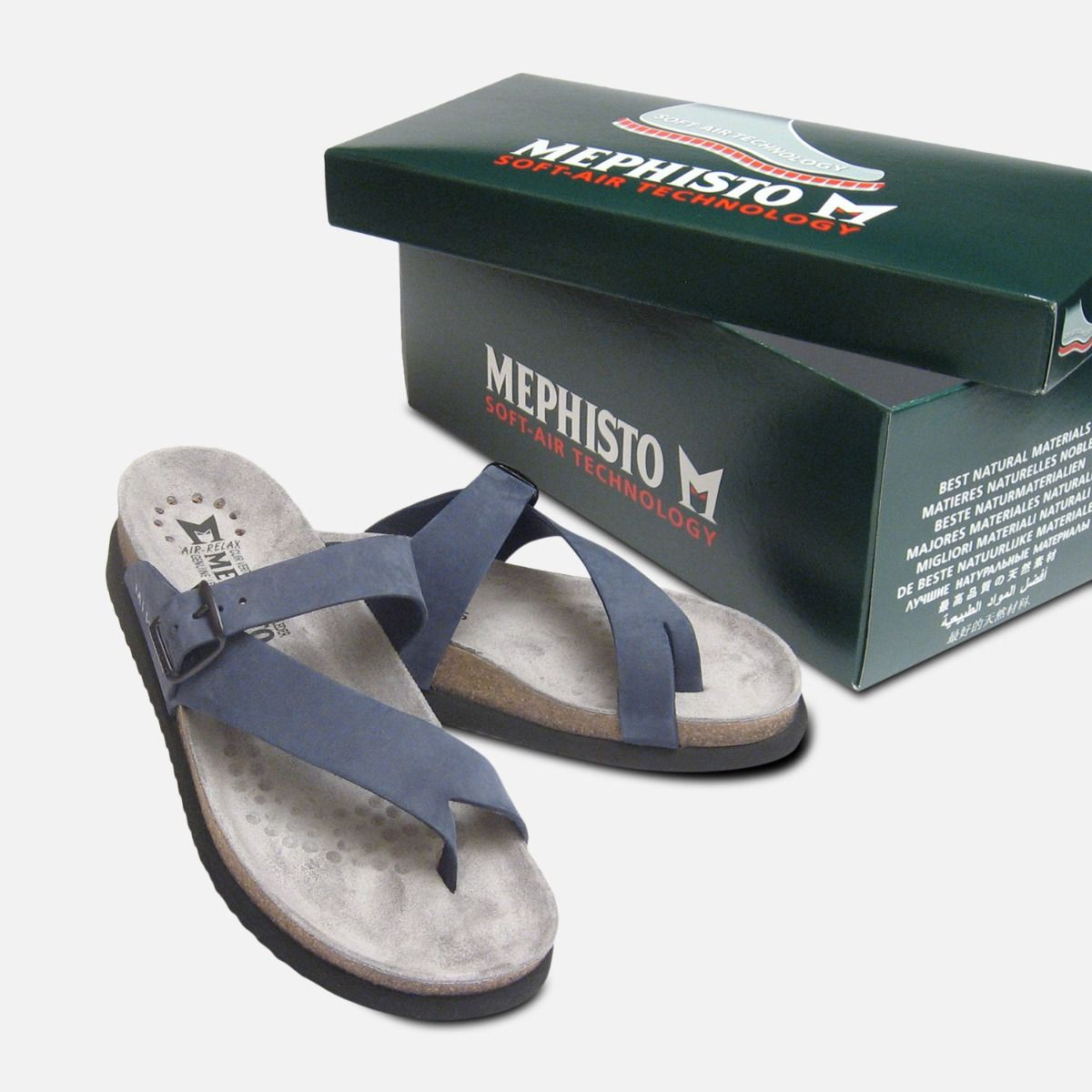 Mephisto Toe Navy Blue Sandals Helen Nubuck Ladies Post 2WEIYeH9D