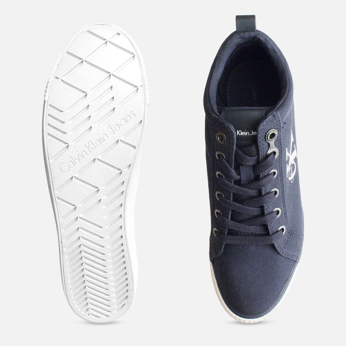 Navy Blue Canvas Ritzy Heel Trainer by Calvin Klein