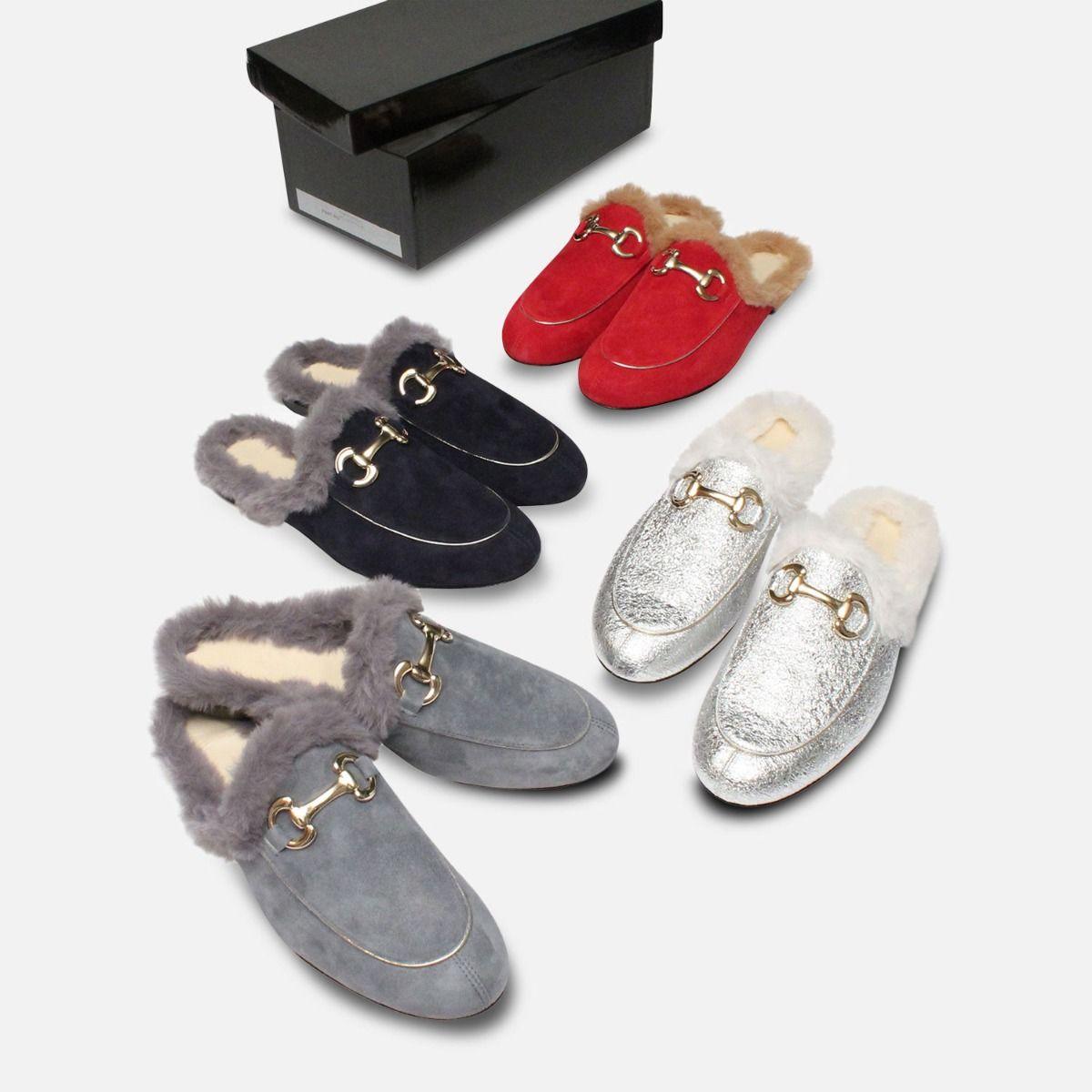 Velvet Fur Italian Backless Loafers in Navy Blue