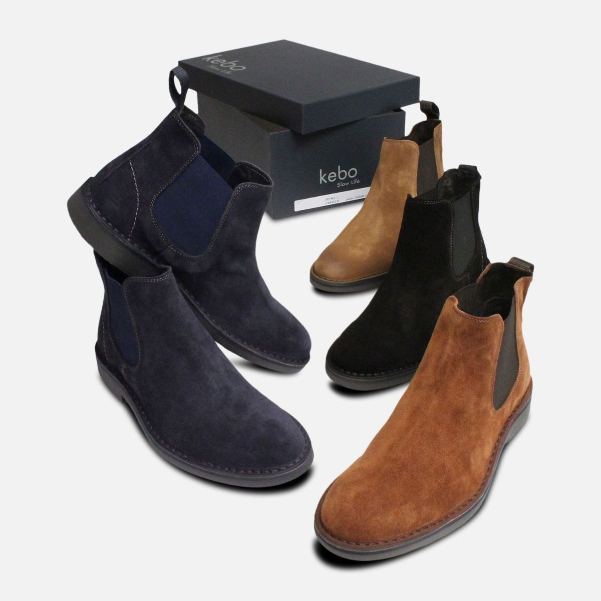 New Navy Blue Suede Plain Chelsea Boots for Men