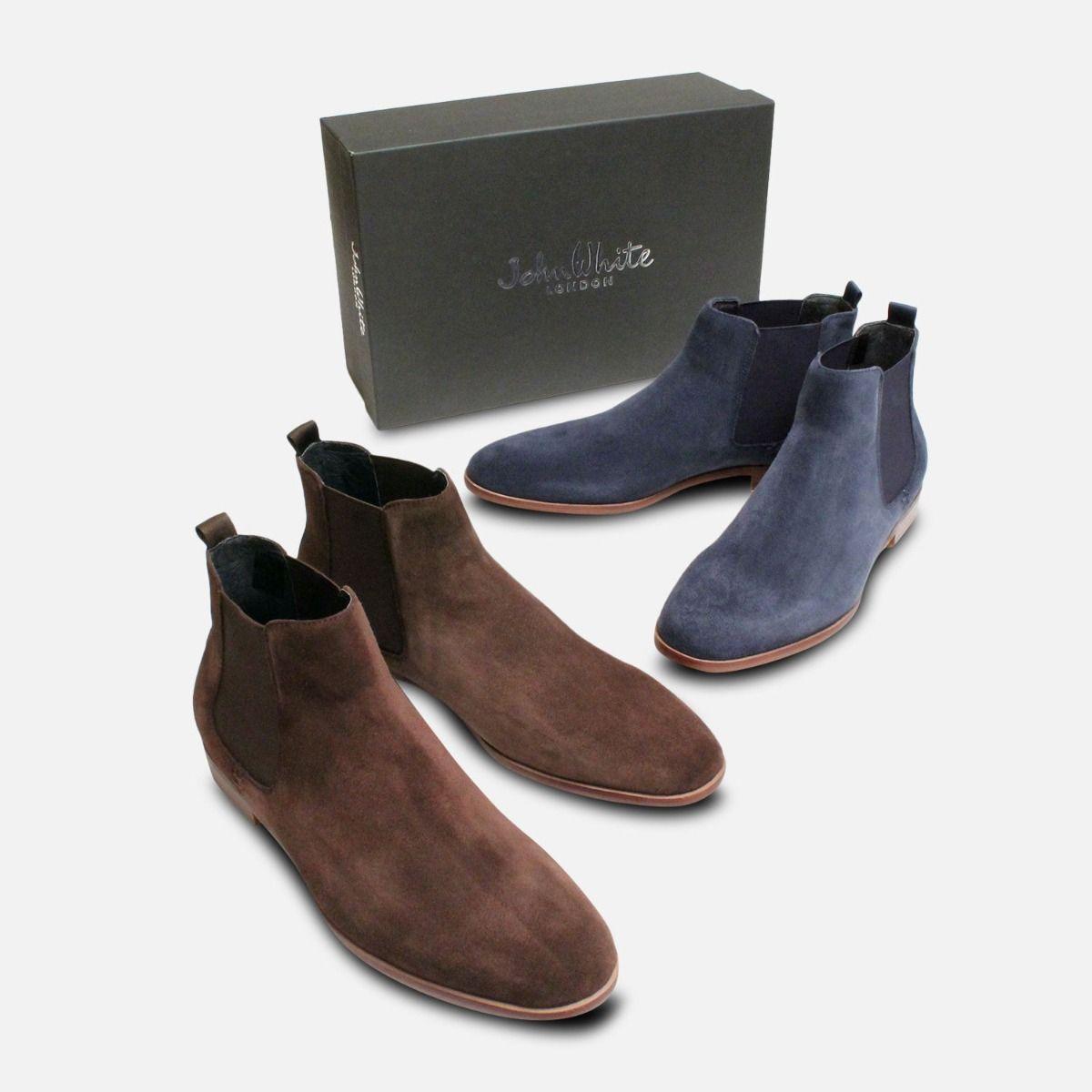 Navy Blue John White Slip on Chelsea Boots